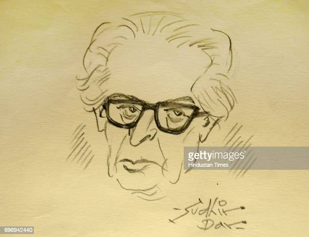 A sketch of Sudhir Dhar Indian cartoonist one of the 'second generation' of editorial cartoonists displayed during an exclusive interview with...