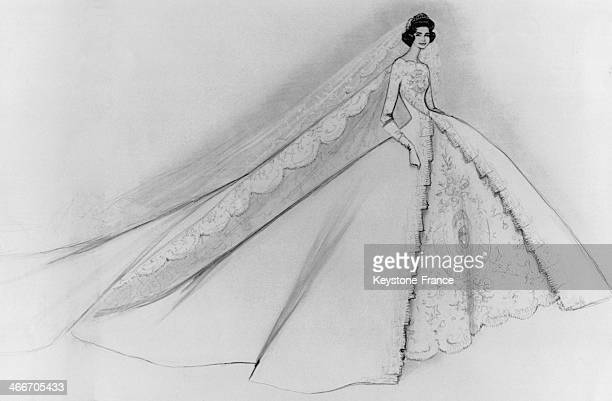 Sketch of the bridal dress French designer Jean Desses created for Princess Sofia for her wedding ceremony to Prince Juan Carlos on May 14 1962 in...