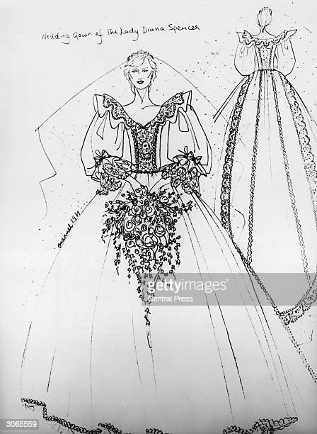A sketch of the dress designed by Elizabeth Emanuel for the wedding of Diana Spencer and Prince Charles