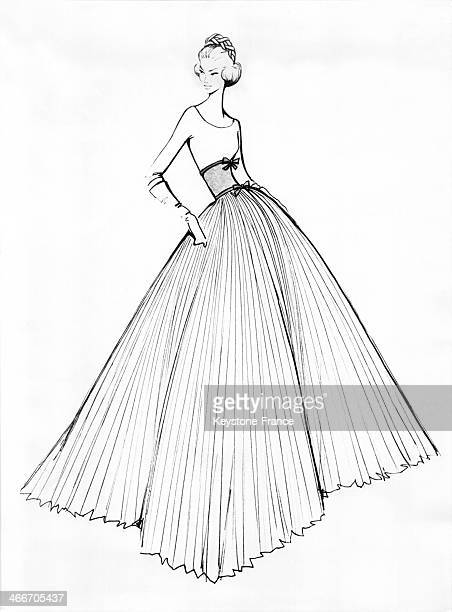 Sketch of the dress of the maids of honour by French Designer Jean Desses for Princess Sofia of Greece and Prince Juan Carlos's wedding on May 14...
