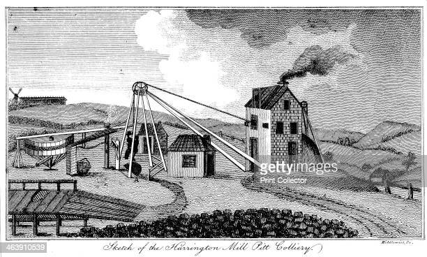 'Sketch of the Harrington Mill Pitt Colliery' County Durham early 19th century View of the pit head showing the steam engine house the energy source...