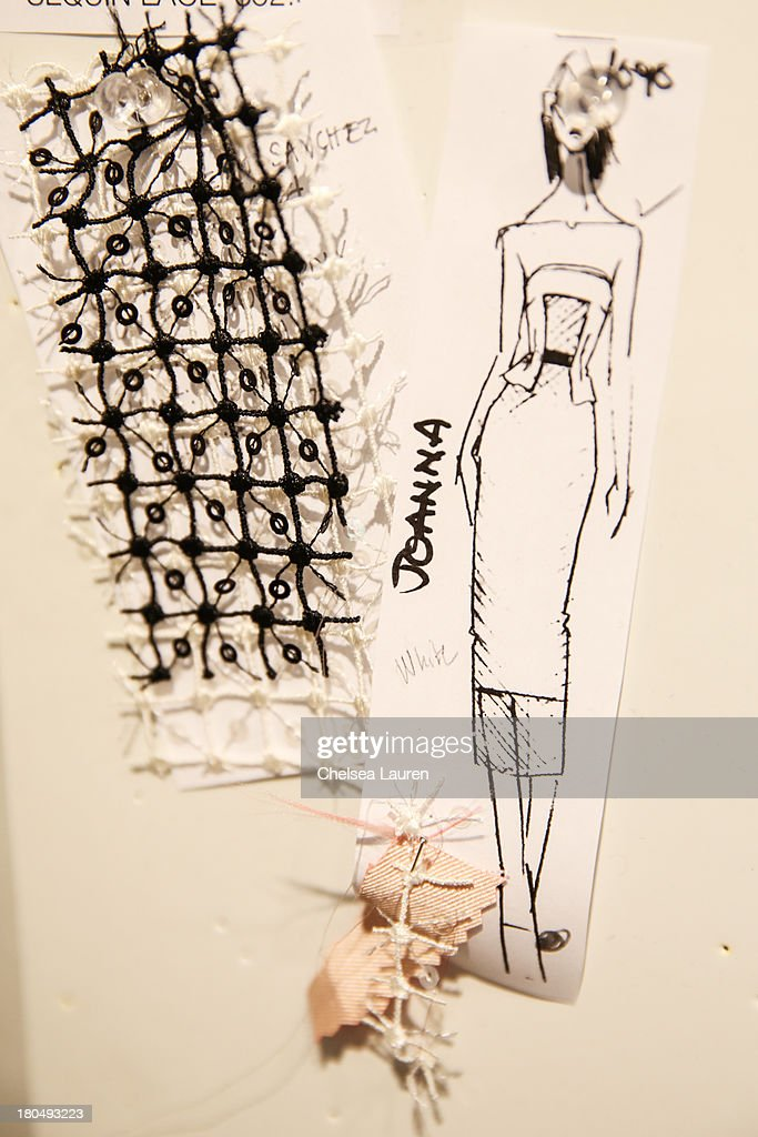 LOOK #8 sketched by designer Bibhu Mohapatra and fabric swatches pinned to his studio wall on September 13, 2013 in New York City.