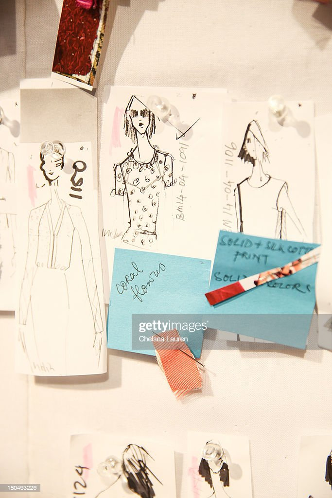 sketched by designer Bibhu Mohapatra and fabric swatches pinned to his studio wall on September 13, 2013 in New York City.