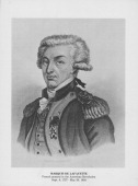 Sketched portrait of French General the Marquis de Lafayette during the American Revolution circa 17751800
