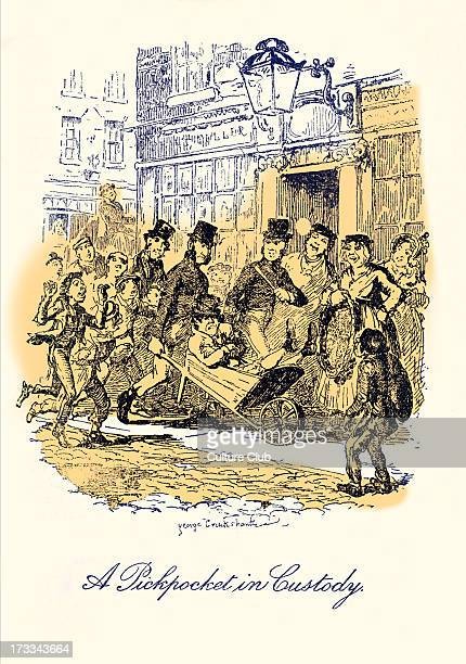 Illustrative of Every Day Life and Everyday People by Charles Dickens Scene 'A Pickpocket in Custody' Illustration by George Cruikshank Originally...