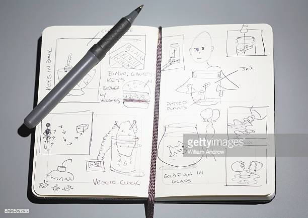 Sketches in open notebook