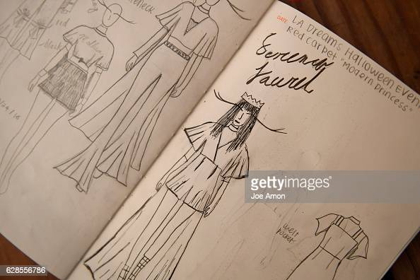 Sketching's for a dress Serena Laurel wore on the red carpet at Starlight's Dream Halloween in October of this year in Los Angeles by Molly OBrien 17...