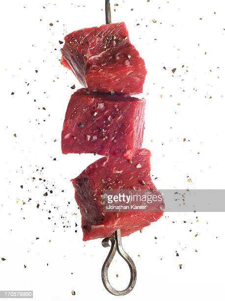 Skewer of Raw Steak Chunks