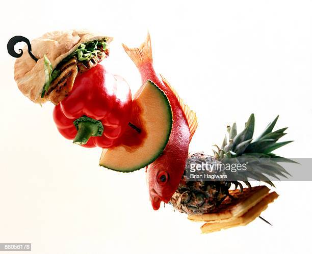 Skewer with assortment of food