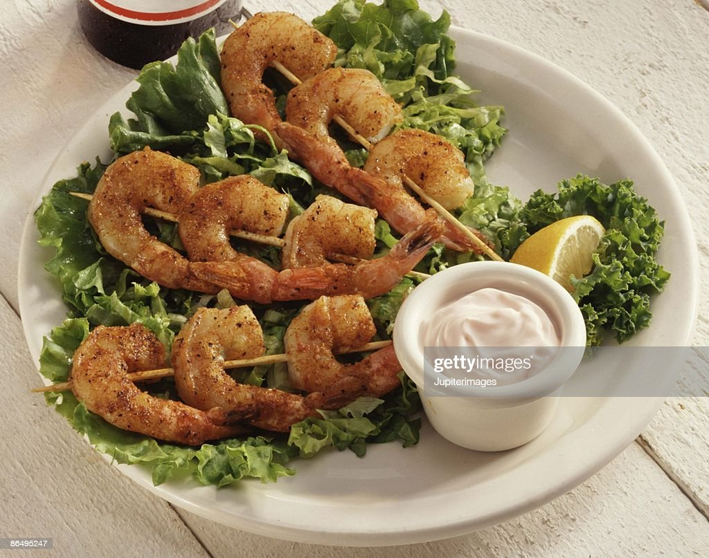 Skewered shrimp appetizer : Stock Photo