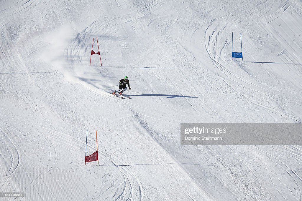 A ski athlete during his giant slalom training on the Fee glacier on September 13, 2013 in Saas-Fee, Switzerland.