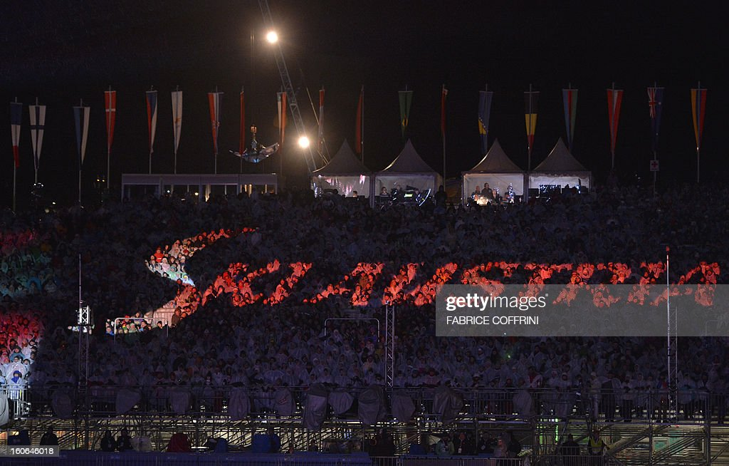 'Ski Austria' is projected during the opening ceremony of the FIS World Ski Championships on February 4, 2013 in Schladming.