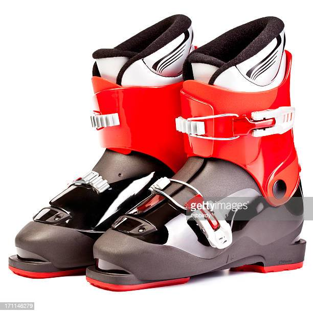 Ski boots for juniors, isolated on white background