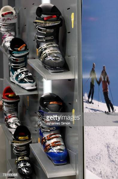 Ski boots of Salomon French manufacturer of skiing equipment are displayed at the ISPO fair for sporting goods on February 4 2007 in Munich Germany...