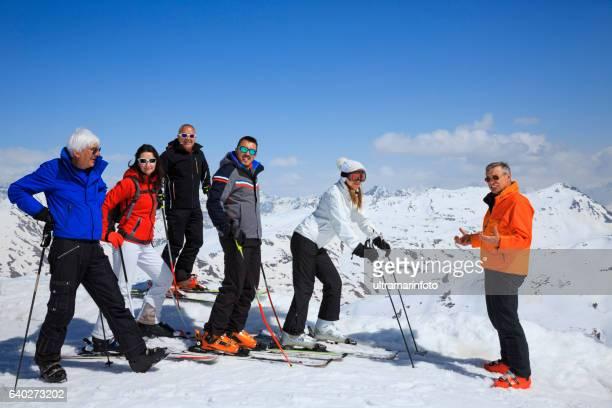 Ski club school skiing trips   Happy group of snow skiers
