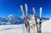 Skiing, winter season , mountains and ski equipments in mountains