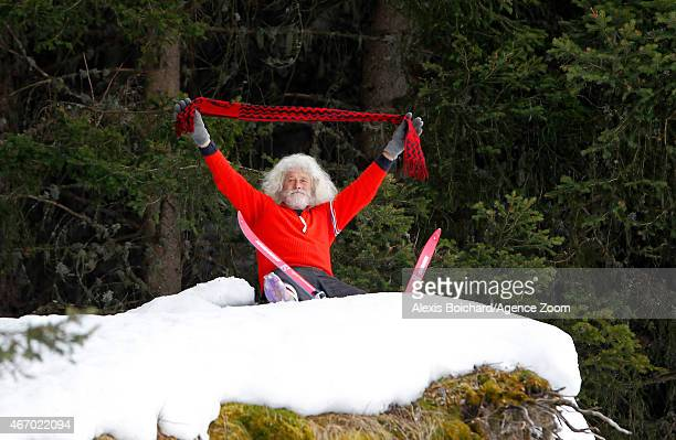 A ski fan during the Audi FIS Alpine Ski World Cup Finals Nations Team Event on March 20 2015 in Meribel France