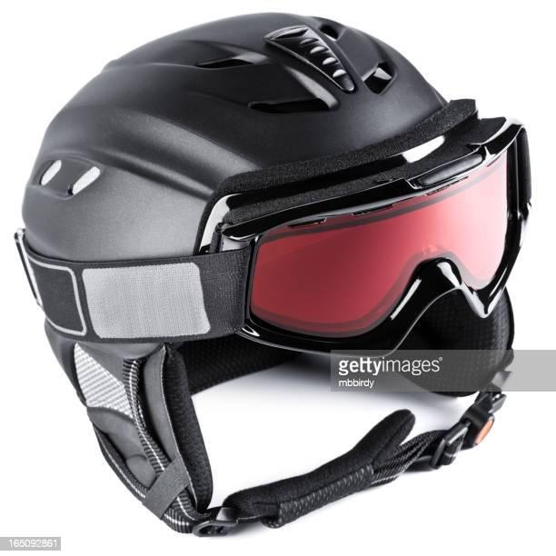 Casque de Ski avec des lunettes, isolé sur blanc