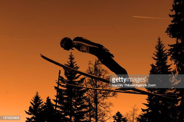 A ski jumper during the FIS Nordic Combined World Cup HS118/10km on January 14 2012 in ChauxNeuve France