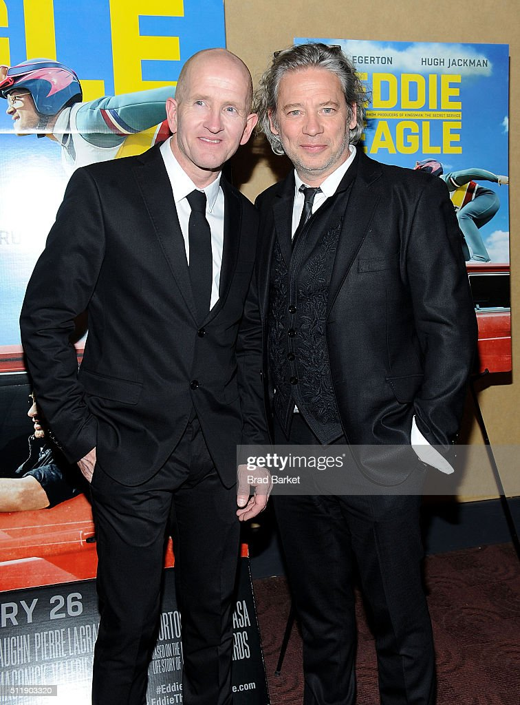 Ski Jumper Eddie Edwards(L) and Director Dexter Fletcher attends the 'Eddie The Eagle' New York Screening at Chelsea Bow Tie Cinemas on February 23, 2016 in New York City.