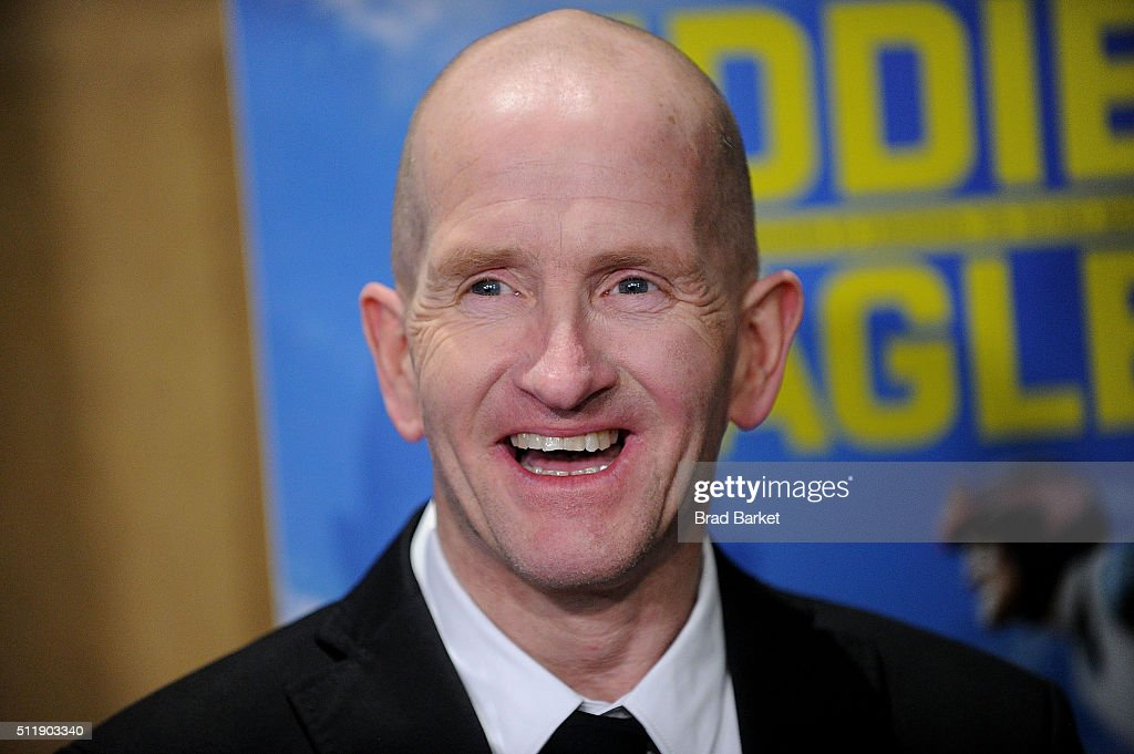 Ski Jumper Eddie Edwards attends the 'Eddie The Eagle' New York Screening at Chelsea Bow Tie Cinemas on February 23, 2016 in New York City.