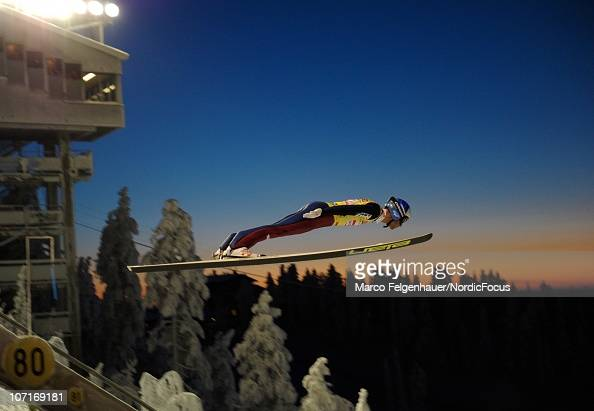 A ski jumper flys down during the Team HS142 competition during the FIS Ski Jumping World Cup on November 27 in Kuusamo Finland