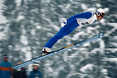 Ski jumper Jari Puikkonen of Finland sails off the 70 meter hill during competitions at the Winter Olympic Games in Sarajevo