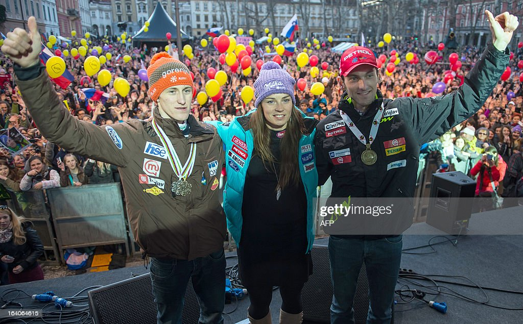 Ski jumper Peter Prevc, alpine skier Tina Maze and biathlete Jakov Fak pose during a reception for Slovenia's ski athletes in Ljubljana on March 19, 2013.