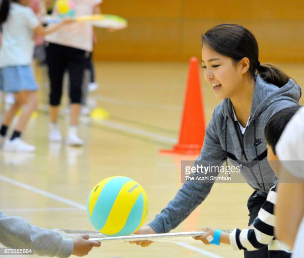 Ski jumper Sara Takanashi takes part in the 'Spring Sports Festa' on April 22 2017 in Tokyo Japan