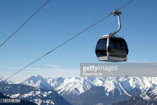 Ski lift and blue sky over European Alps panorama (XXXL)
