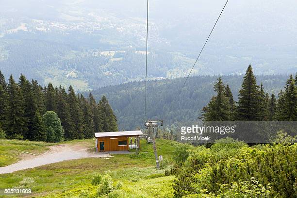 Ski lift and piste in summer