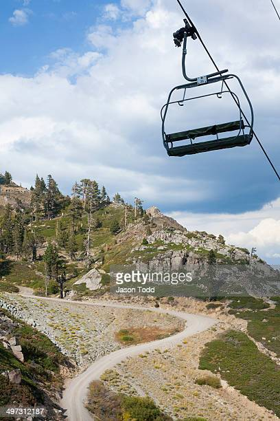 Ski lift chair in mountain landscape during summer