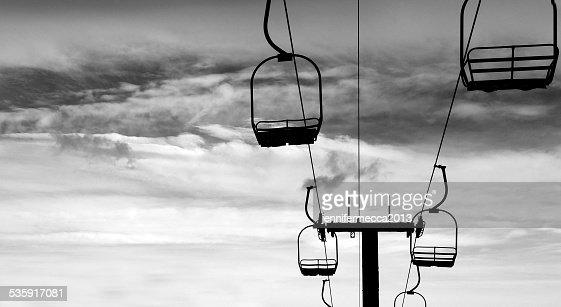 Ski Lift in Silhouette : Stock Photo