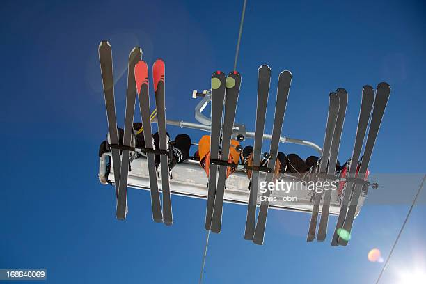 Ski lift seen from below