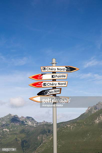 Ski Lift signpost in the French Alps
