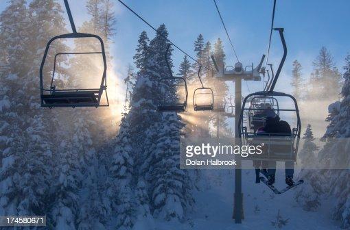 Ski lift sunburst