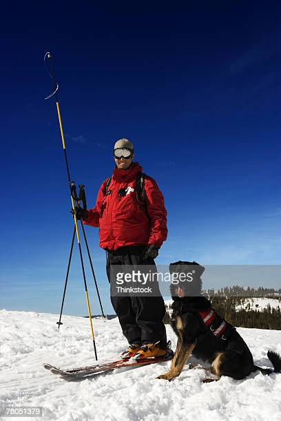 Ski patrol with dog