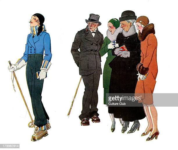 Ski resort fashions 1930s French illustration by René Vincent Women from the country dressed in Parisian style smile ironically at the young woman...