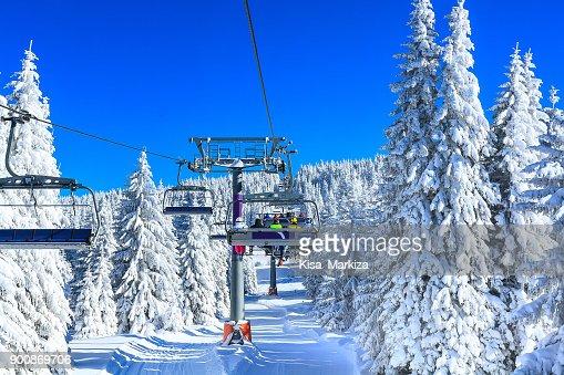 Ski resort Kopaonik, Serbia, chair lift : Stock Photo