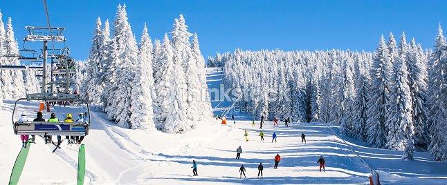 Ski resort Kopaonik, Serbia, lift, slope, people skiing : Stock Photo