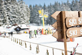 Ski resort with wooden sign