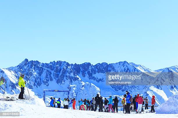 Ski resort tourists in Bansko, Bulgaria