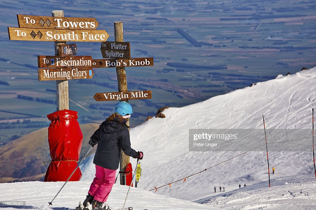 Ski run signage at summit of Mount Hutt Ski Fields