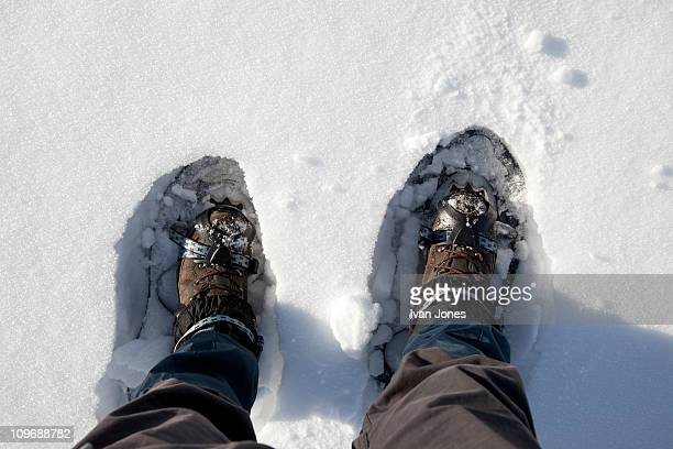 ski shoes in deep snow