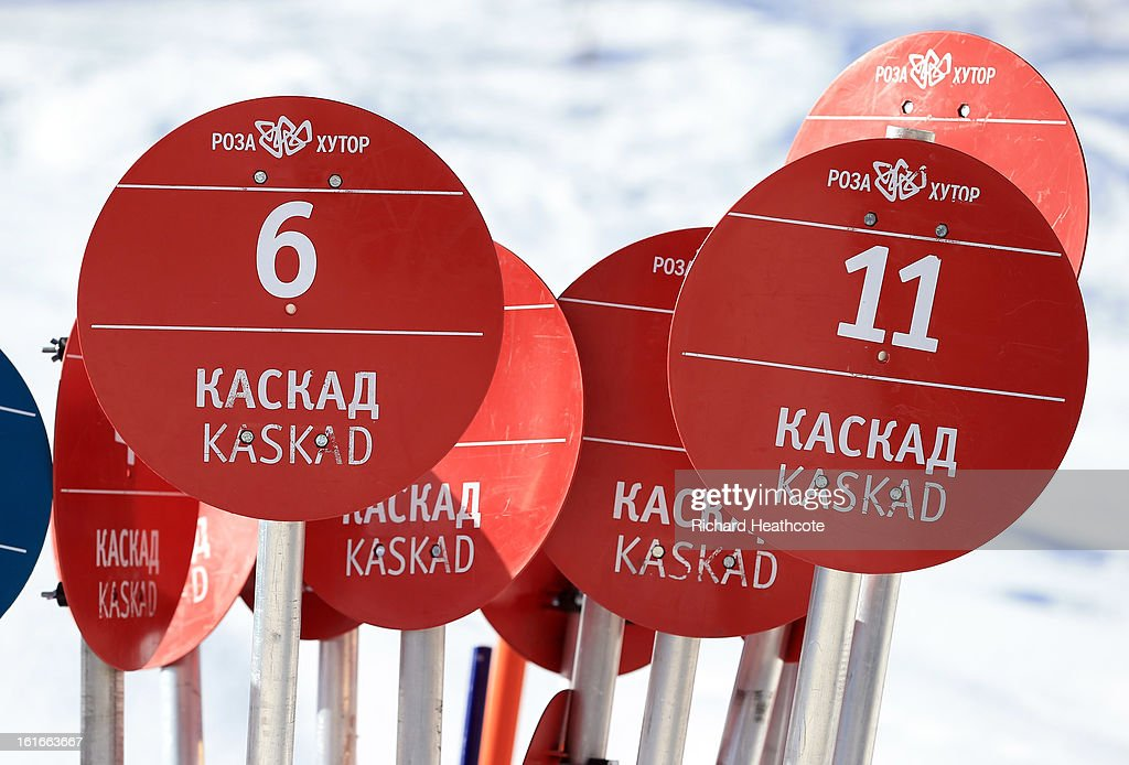 Ski slope signs stacked up at the Rosa Khutor Alpine Ski Resort in Krasnaya Polyana on February 14, 2013 in Sochi, Russia. Sochi is preparing for the 2014 Winter Olympics with test events across the venues.