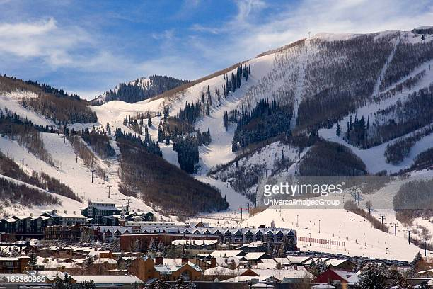 Ski slopes lodges lifts and hotels of Park City Resort Center a year round recreational area in the Wasatch Mountains of northern Utah USA
