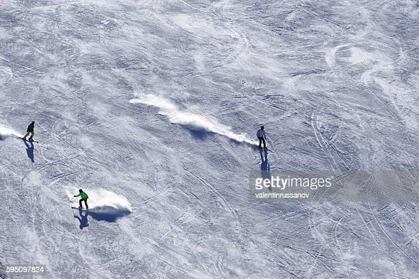 Ski slopes with skiers in Bansko, Bulgaria