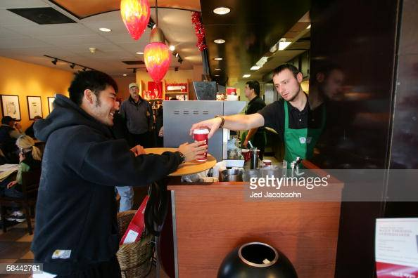 Ski Team member Toby Dawson gets a coffee from Starbucks near his home in Edwards Colorado on November 21 2005