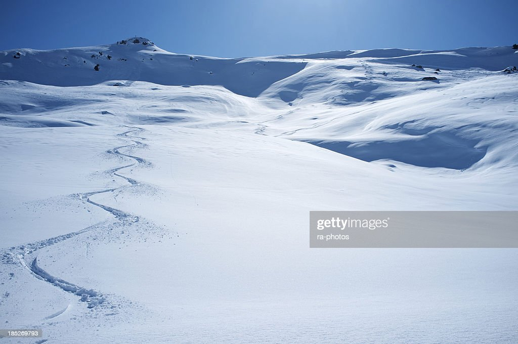 Ski tracks in powder snow