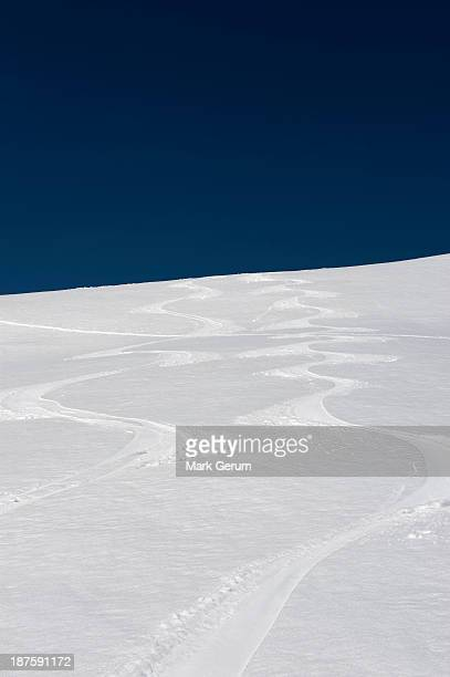 Ski tracks on slope on The Dolomites, South Tyrol, Italy,
